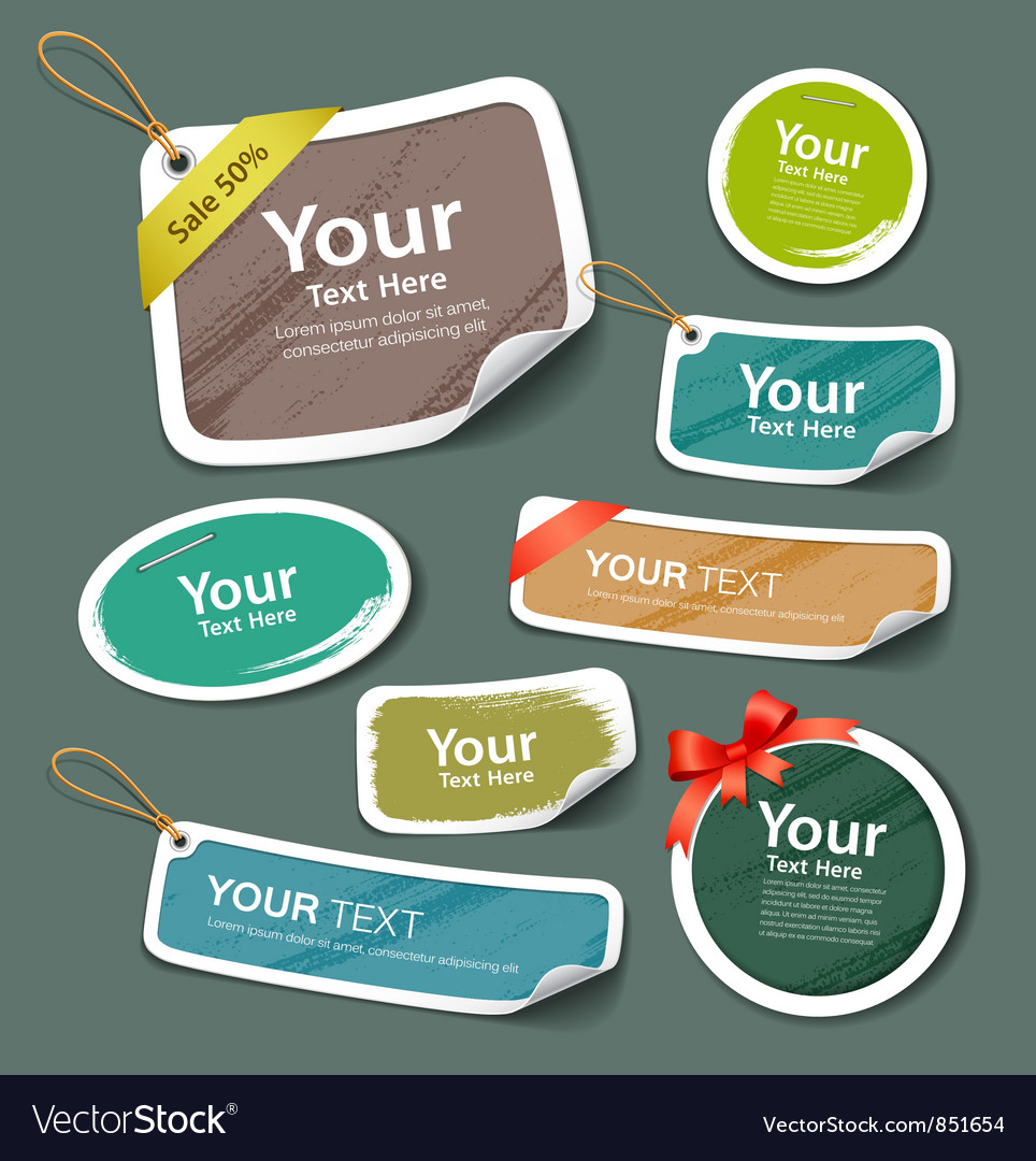 Colorful collection label and tag paper esign vector | Price: 1 Credit (USD $1)