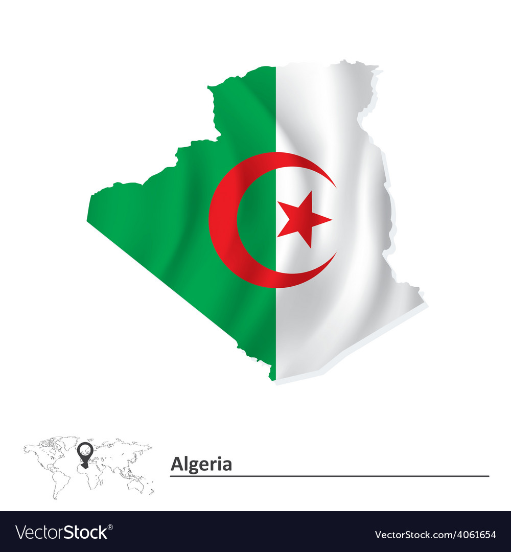 Map of algeria with flag vector | Price: 1 Credit (USD $1)