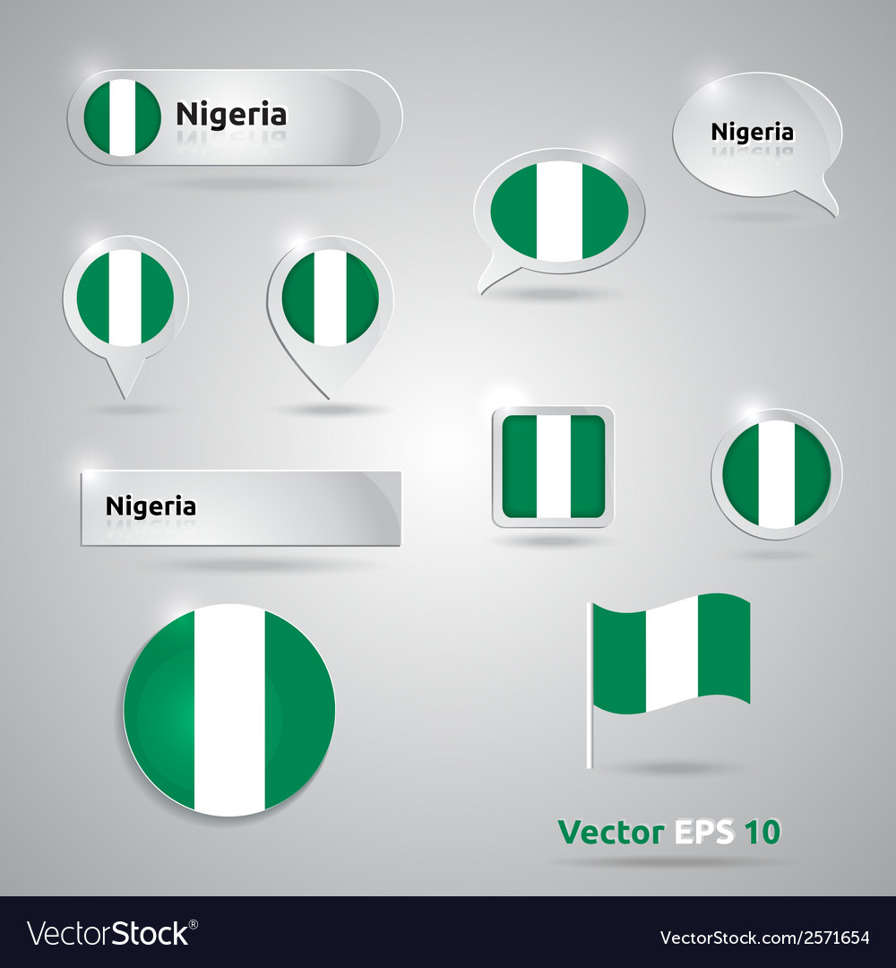 Nigeria icon set of flags vector | Price: 1 Credit (USD $1)