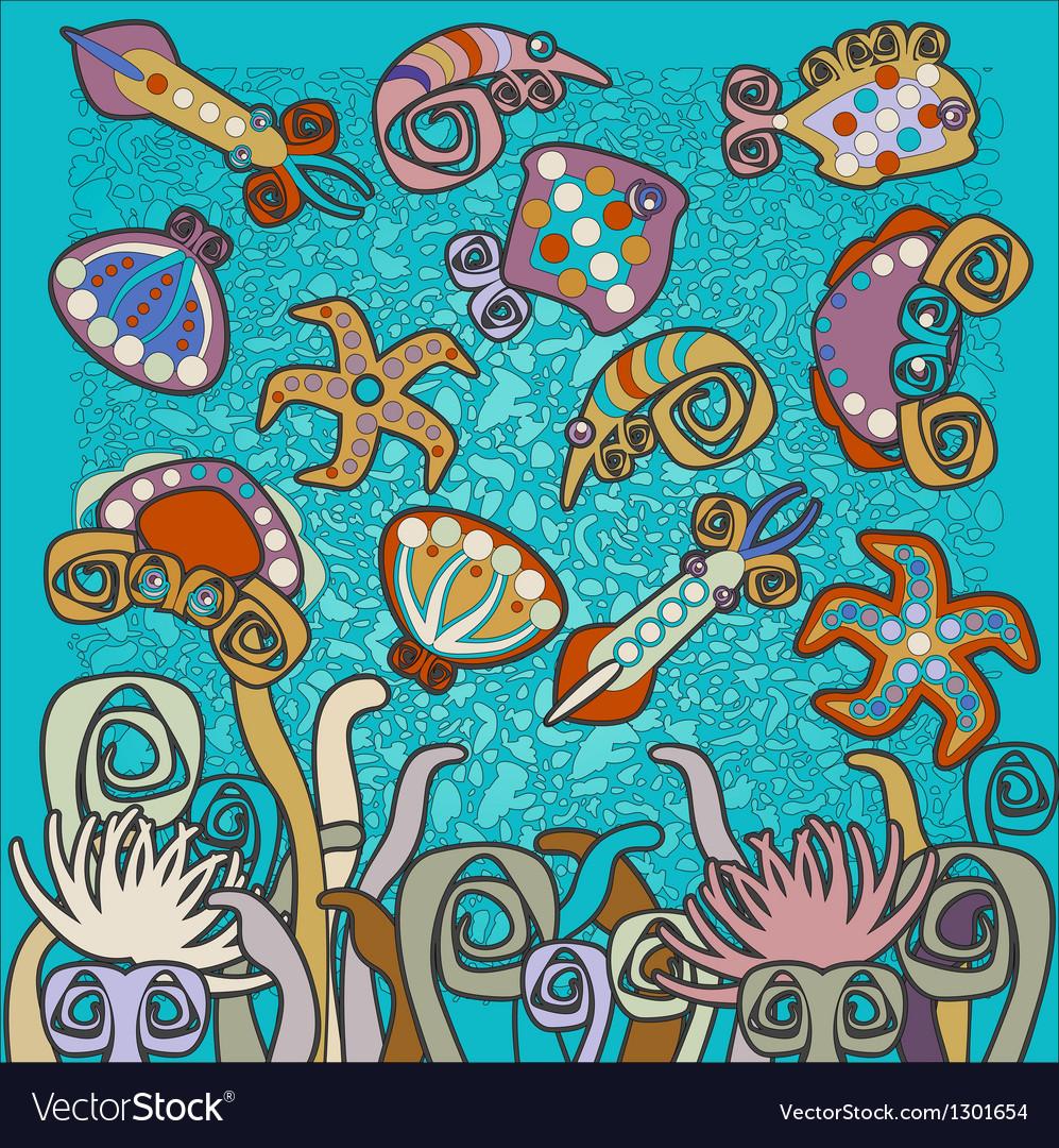 Sea fauna pattern vector | Price: 1 Credit (USD $1)