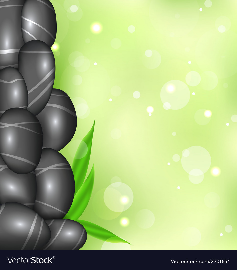 Spa background with bamboo leaves and stones vector | Price: 1 Credit (USD $1)