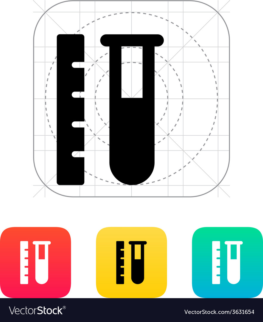 Test tube with ruler icon vector | Price: 1 Credit (USD $1)