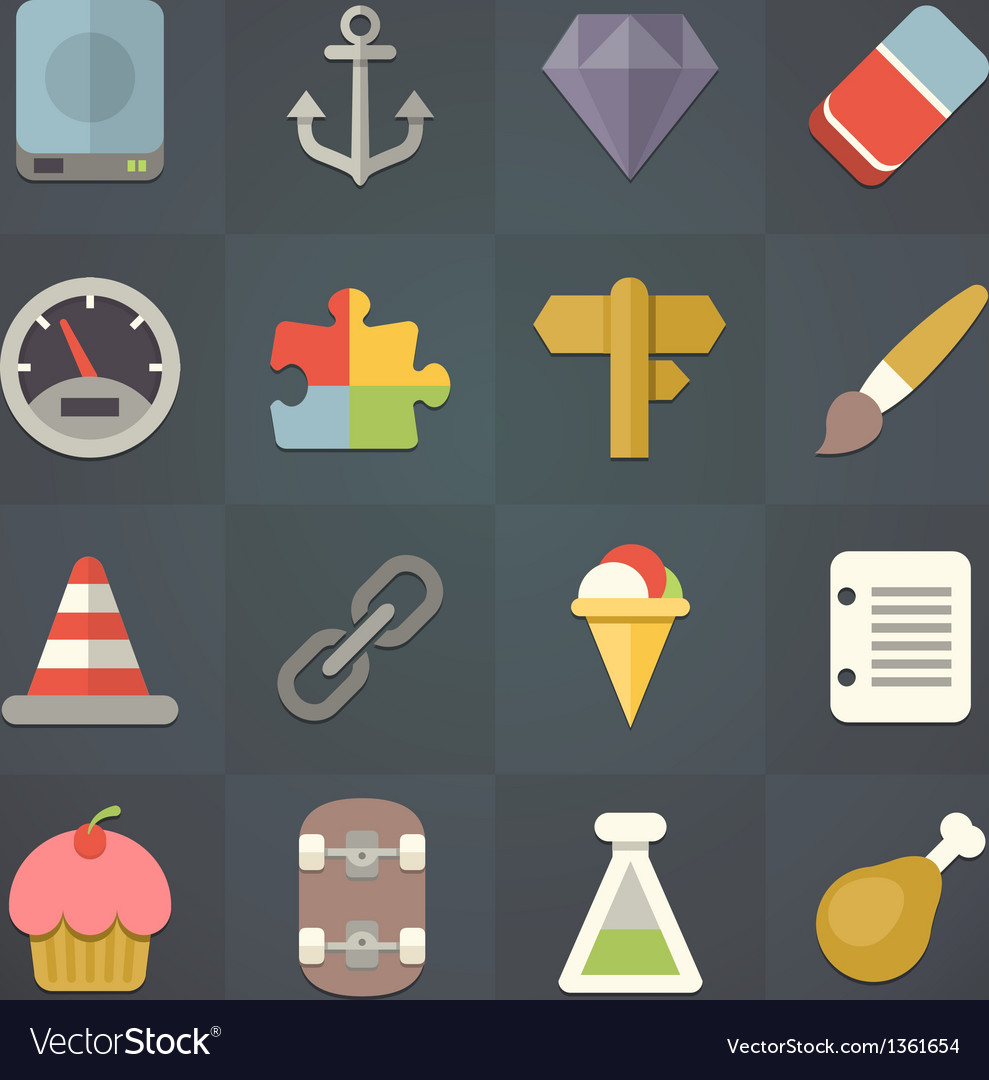 Universal flat icons for applications set 11 vector | Price: 3 Credit (USD $3)