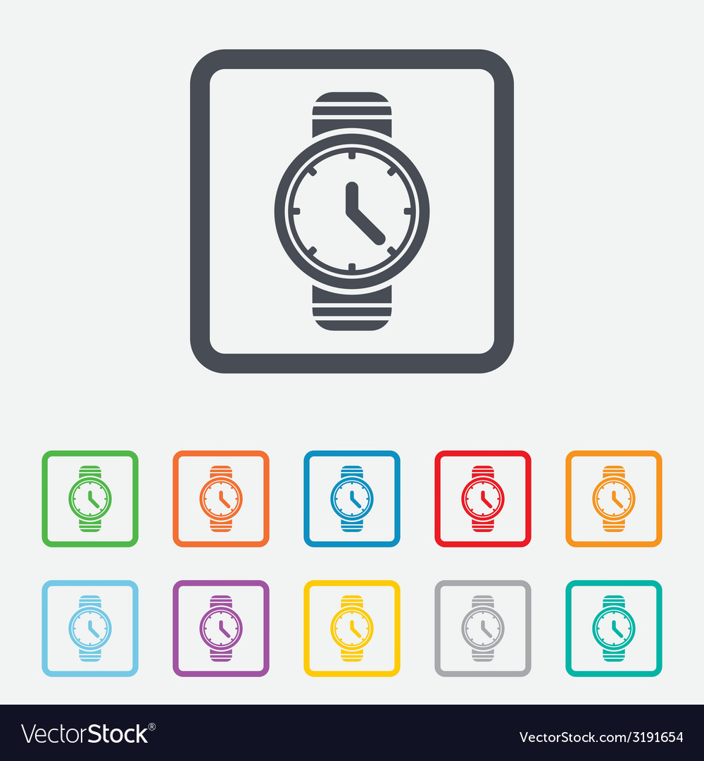 Wrist watch sign icon mechanical clock symbol vector | Price: 1 Credit (USD $1)