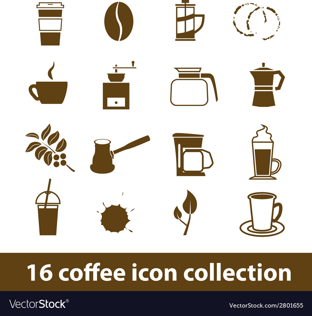 16 coffee icon collection vector | Price: 1 Credit (USD $1)