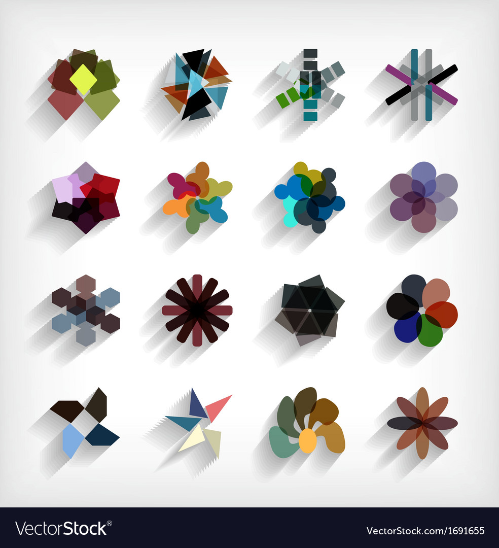 3d flat geometric abstract business icon set vector | Price: 1 Credit (USD $1)