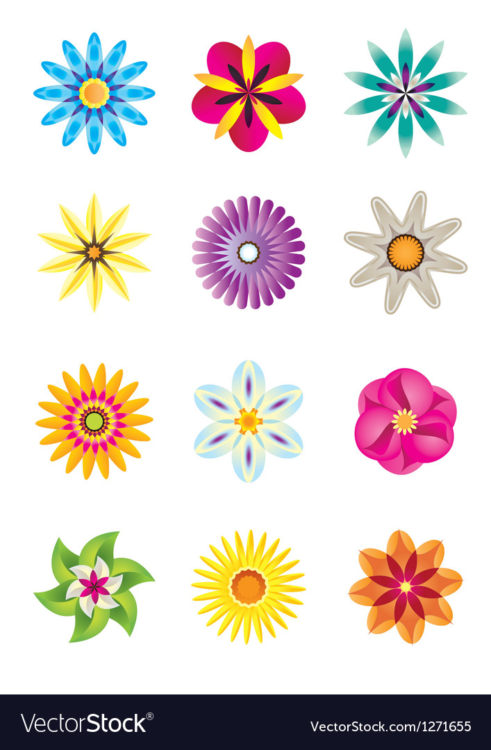 Abstract flower icons vector | Price: 1 Credit (USD $1)