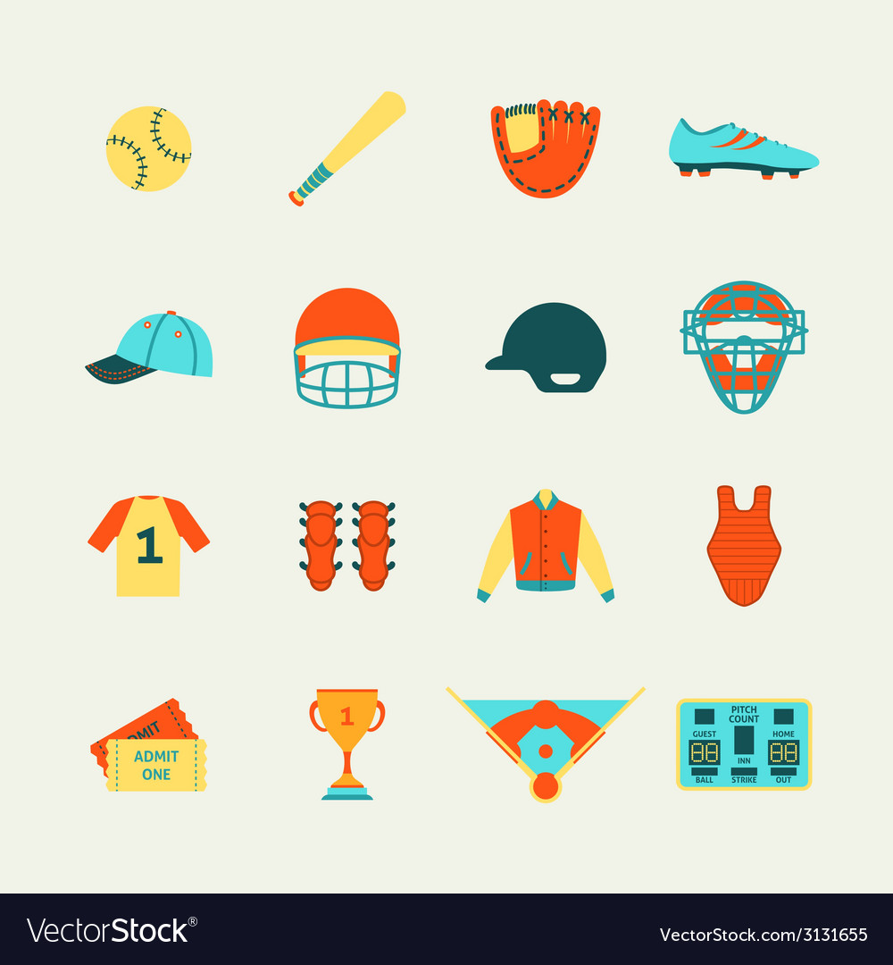 Baseball icons set flat vector | Price: 1 Credit (USD $1)