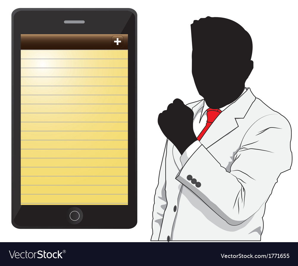 Business man and phone vector | Price: 1 Credit (USD $1)