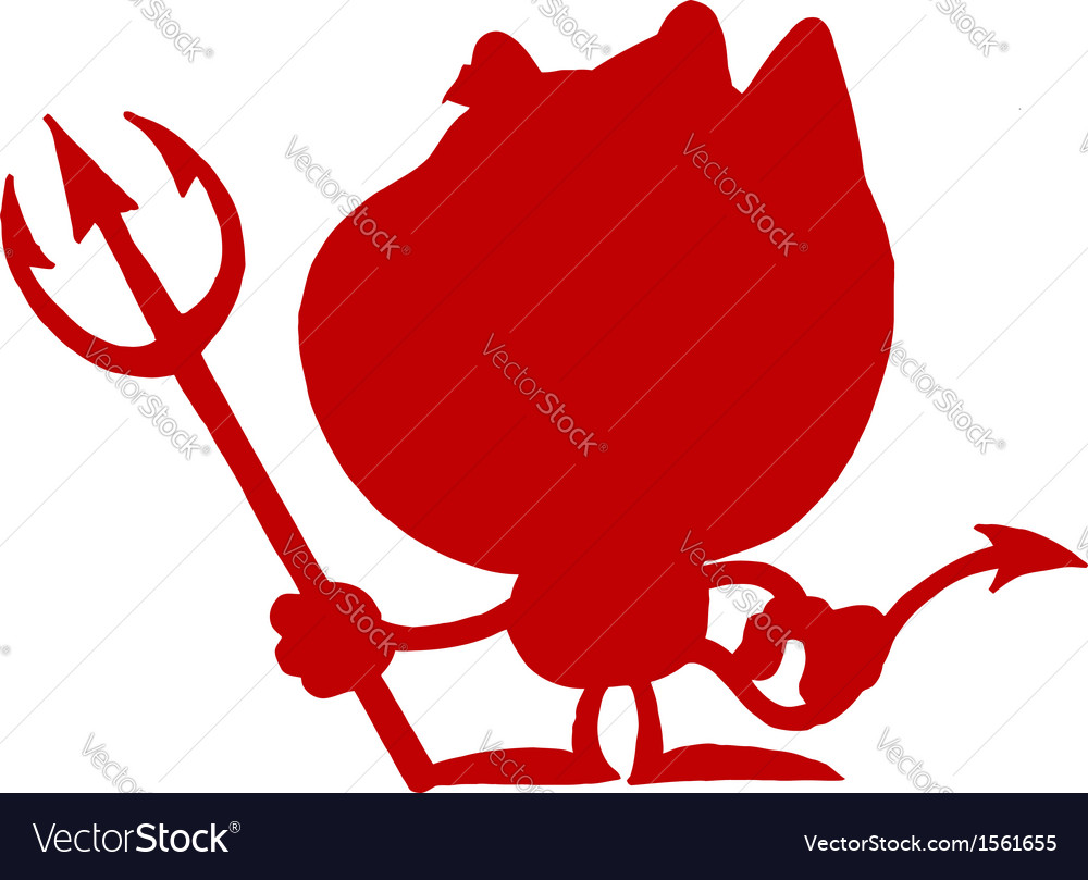 Devil silhouette cartoon vector | Price: 1 Credit (USD $1)