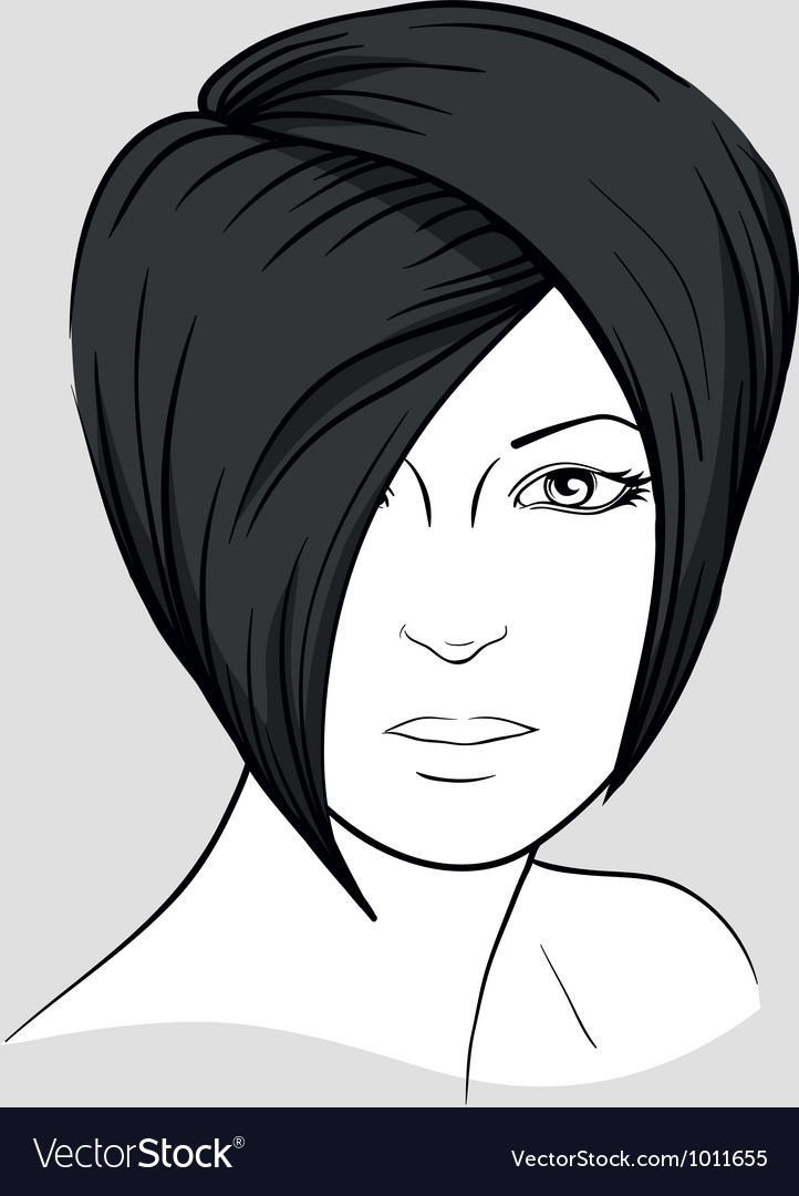 Face of brunette with short hair vector | Price: 3 Credit (USD $3)