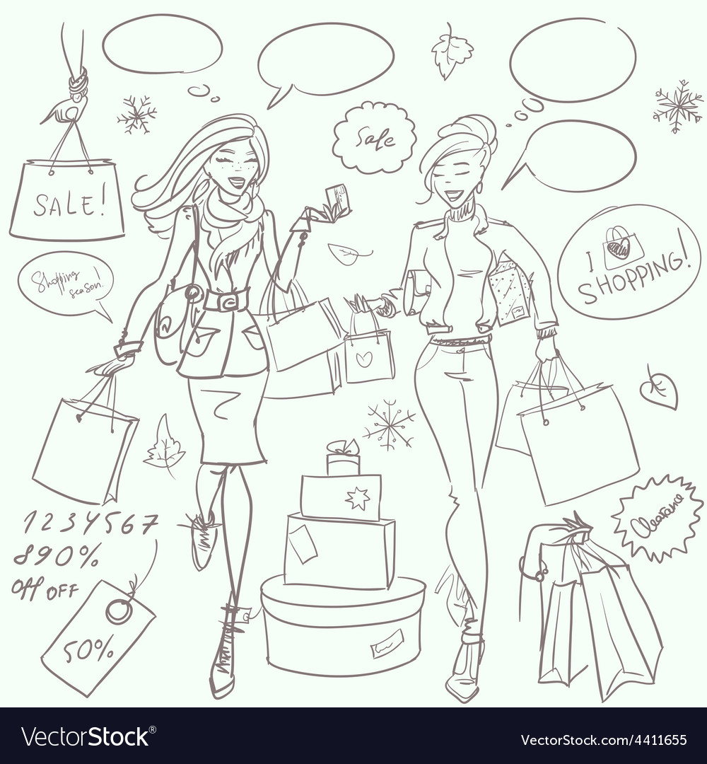 Fashion and beauty hand drawn collection vector | Price: 1 Credit (USD $1)