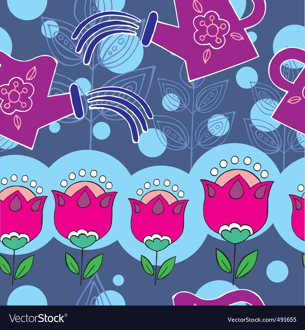 Flower garden pattern vector | Price: 1 Credit (USD $1)