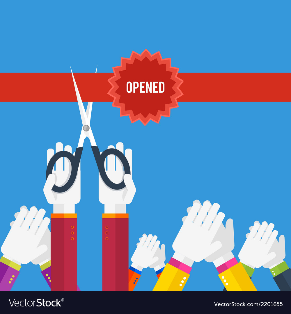 Grand opening - cutting red ribbon vector | Price: 1 Credit (USD $1)