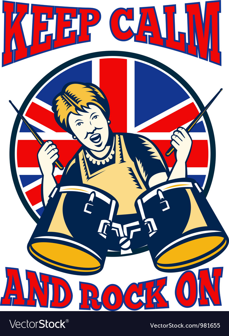 Keep calm rock on british flag queen granny drums vector | Price: 3 Credit (USD $3)