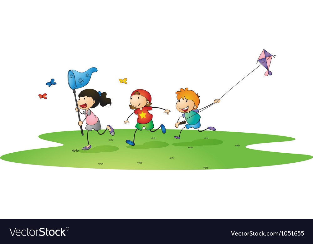 Kids playing with kites vector | Price: 3 Credit (USD $3)