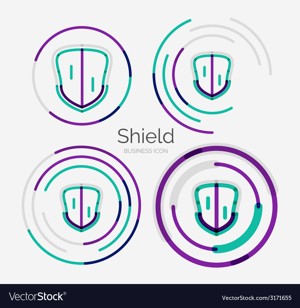 Thin line neat design logo shield icon set vector | Price: 1 Credit (USD $1)