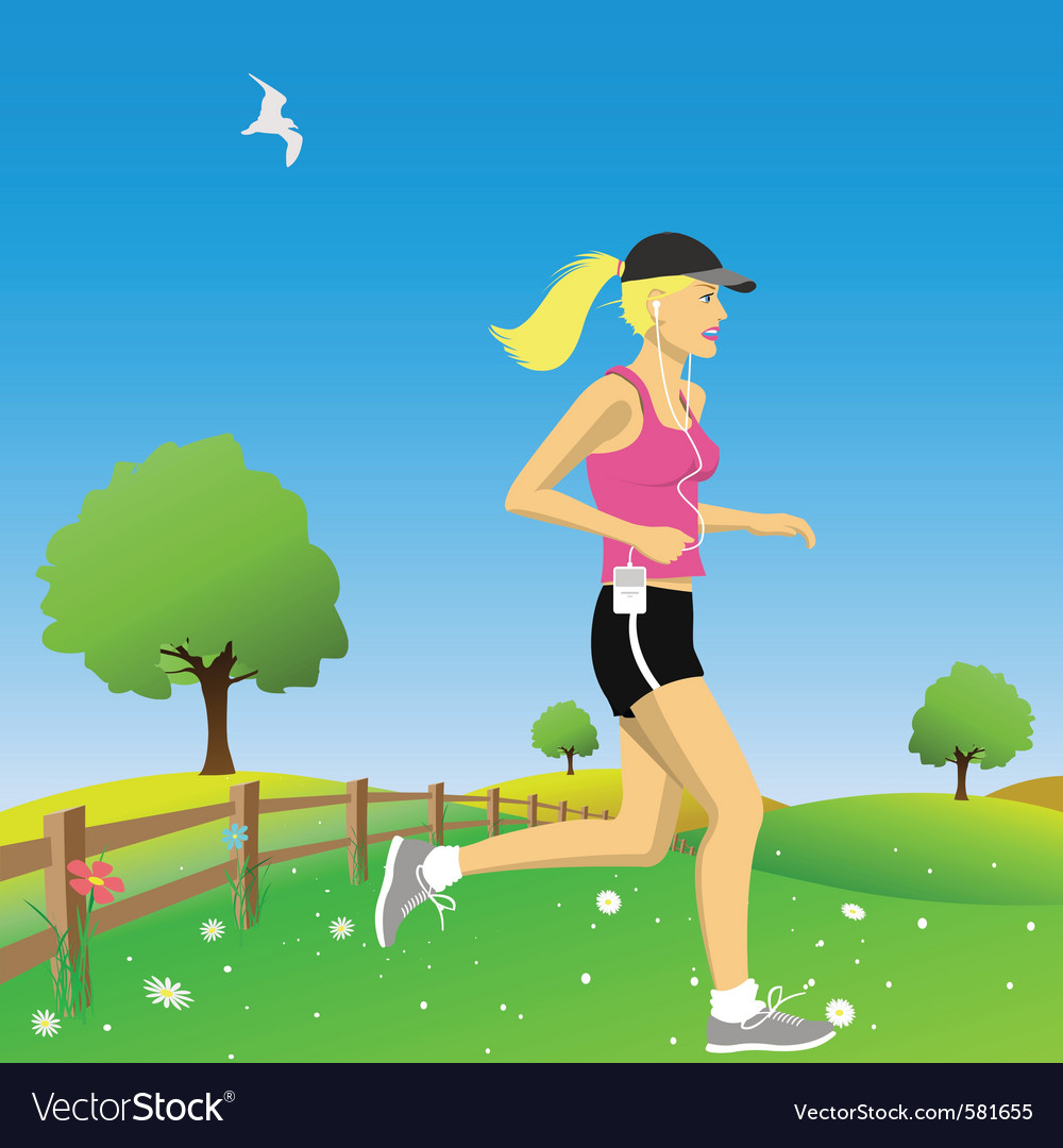 Woman jogging vector | Price: 1 Credit (USD $1)