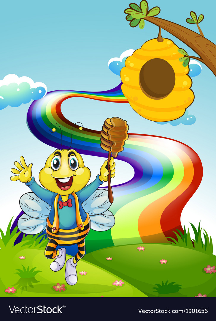 A happy bee at the hilltop with a rainbow vector | Price: 3 Credit (USD $3)
