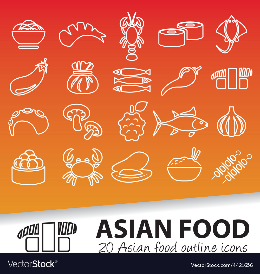 Asian food outline icons vector | Price: 1 Credit (USD $1)