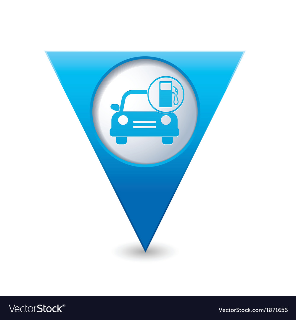 Car with gas station iconmap pointer blue vector | Price: 1 Credit (USD $1)