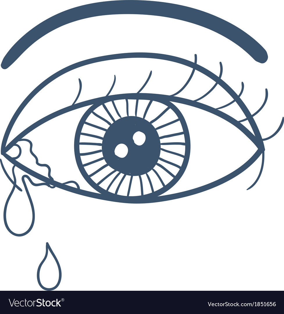 Crying eye with tears isolated on white vector | Price: 1 Credit (USD $1)