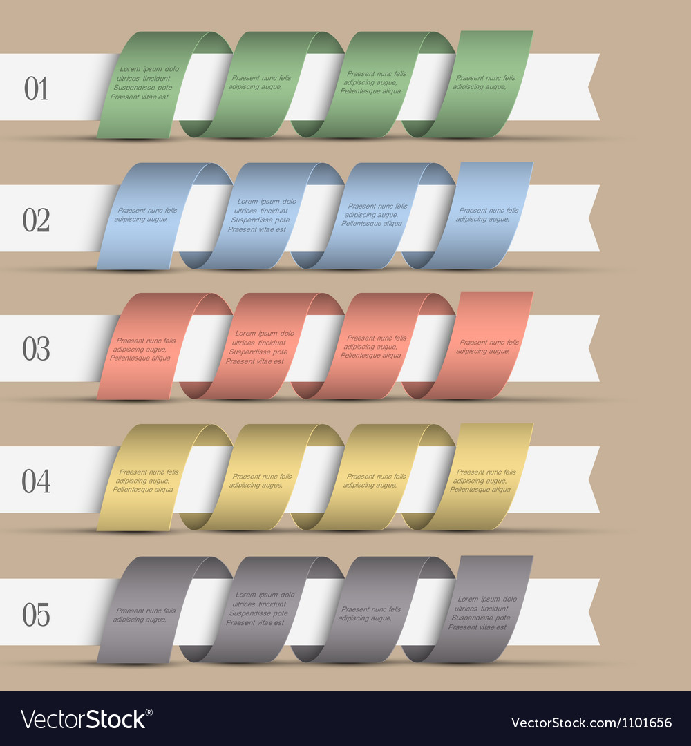 Five modern numbered ribbons banners vector | Price: 1 Credit (USD $1)