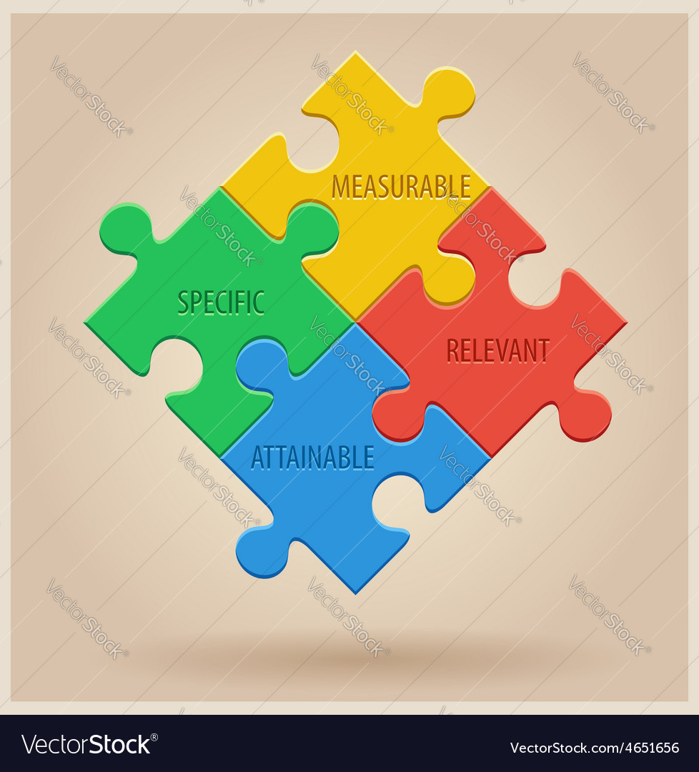 Four colourful puzzle pieces business infographic vector | Price: 1 Credit (USD $1)