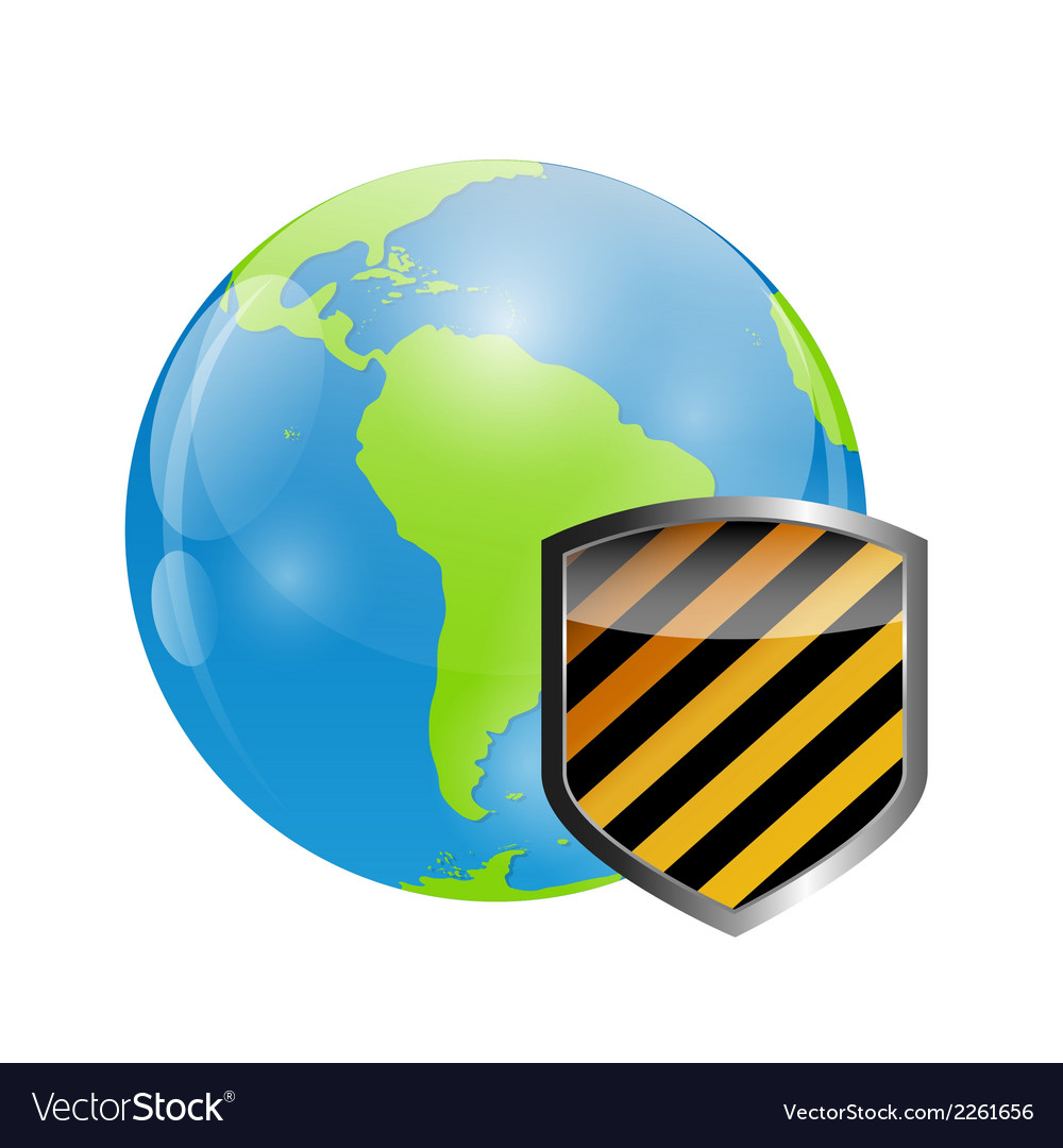 Globe icon with protection shield vector | Price: 1 Credit (USD $1)