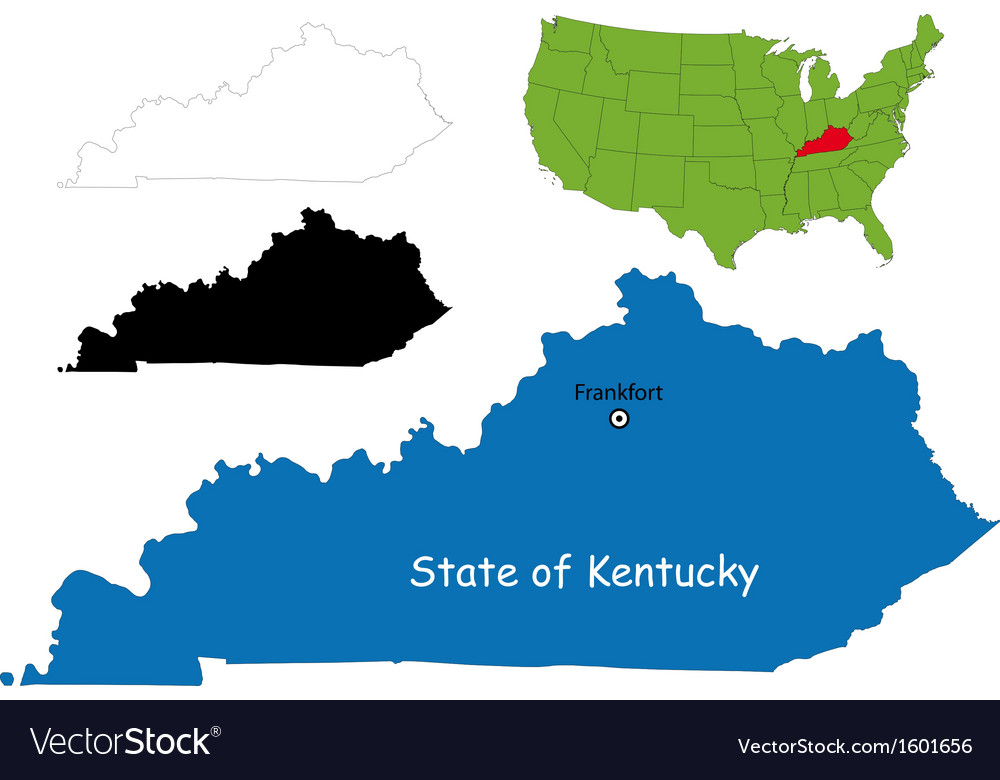 Kentucky map vector | Price: 1 Credit (USD $1)