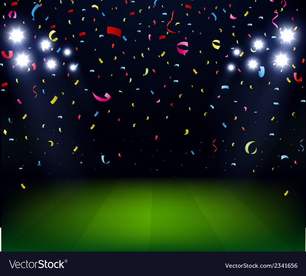 Soccer stadium celebration with confetti on night vector | Price: 1 Credit (USD $1)