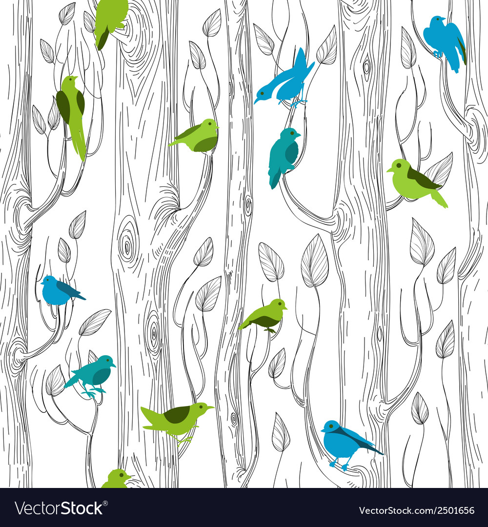 Trees and birds seamless pattern vector | Price: 1 Credit (USD $1)