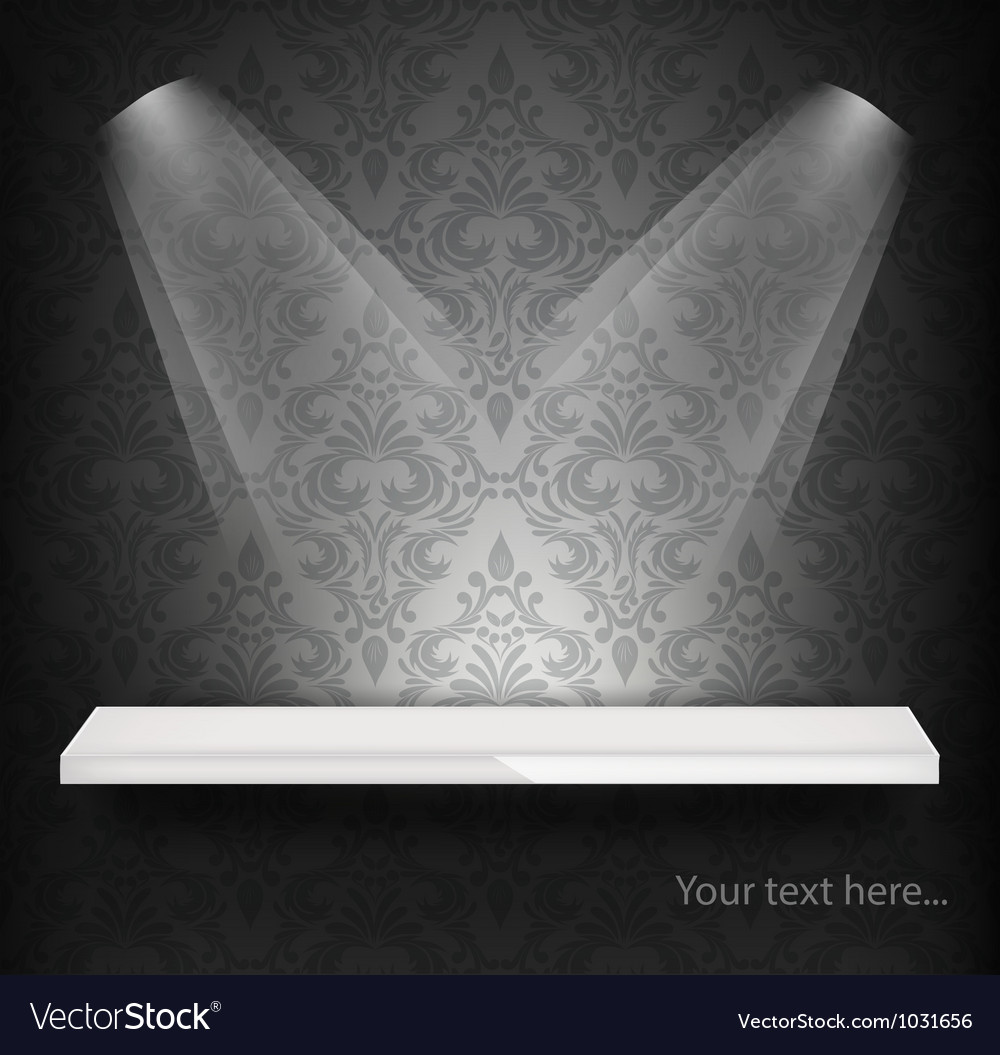 White shelf on wall with damask pattern vector | Price: 1 Credit (USD $1)