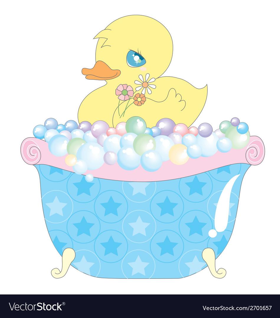 Baby duck in bathtub vector   Price: 1 Credit (USD $1)