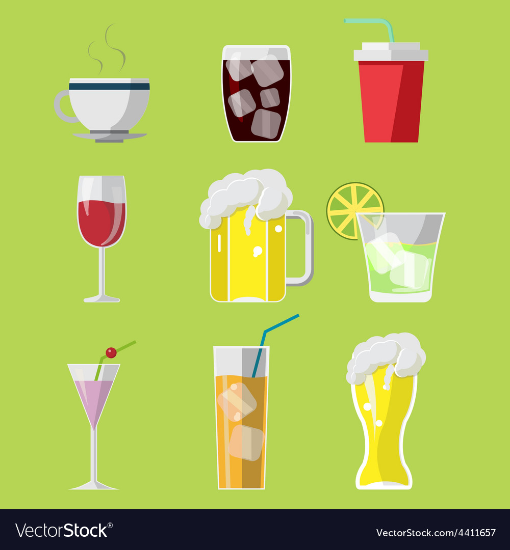 Beverage drink icons symbols set vector | Price: 1 Credit (USD $1)