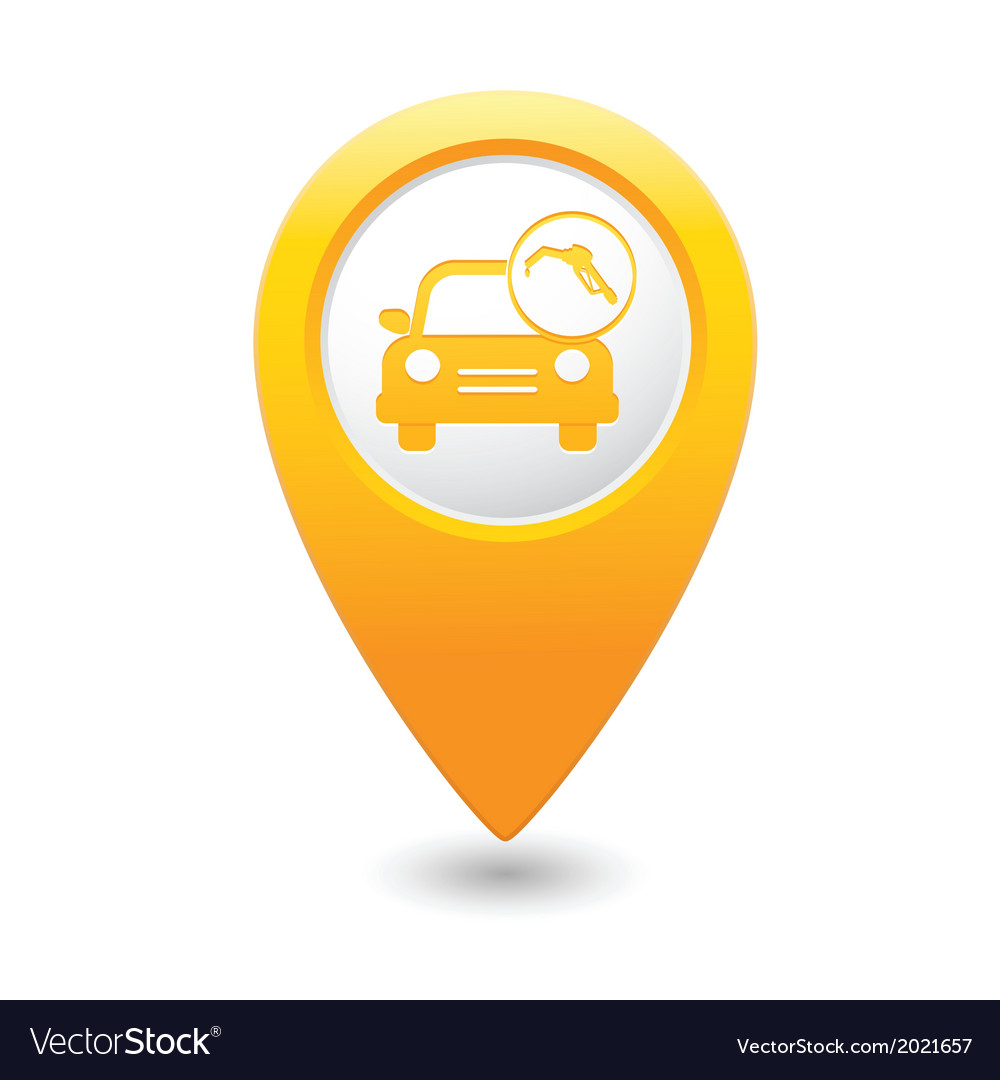 Car with fast refueling icon map pointer yellow vector | Price: 1 Credit (USD $1)