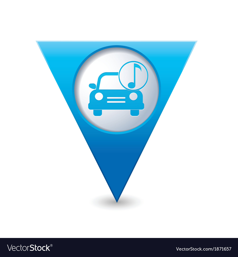 Car with music icon map pointer blue vector | Price: 1 Credit (USD $1)
