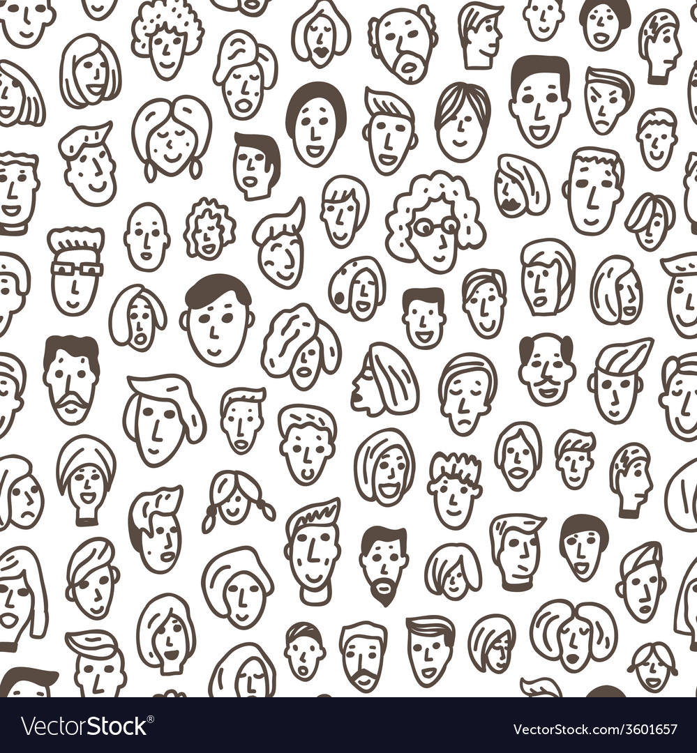 Faces - seamless background vector | Price: 1 Credit (USD $1)