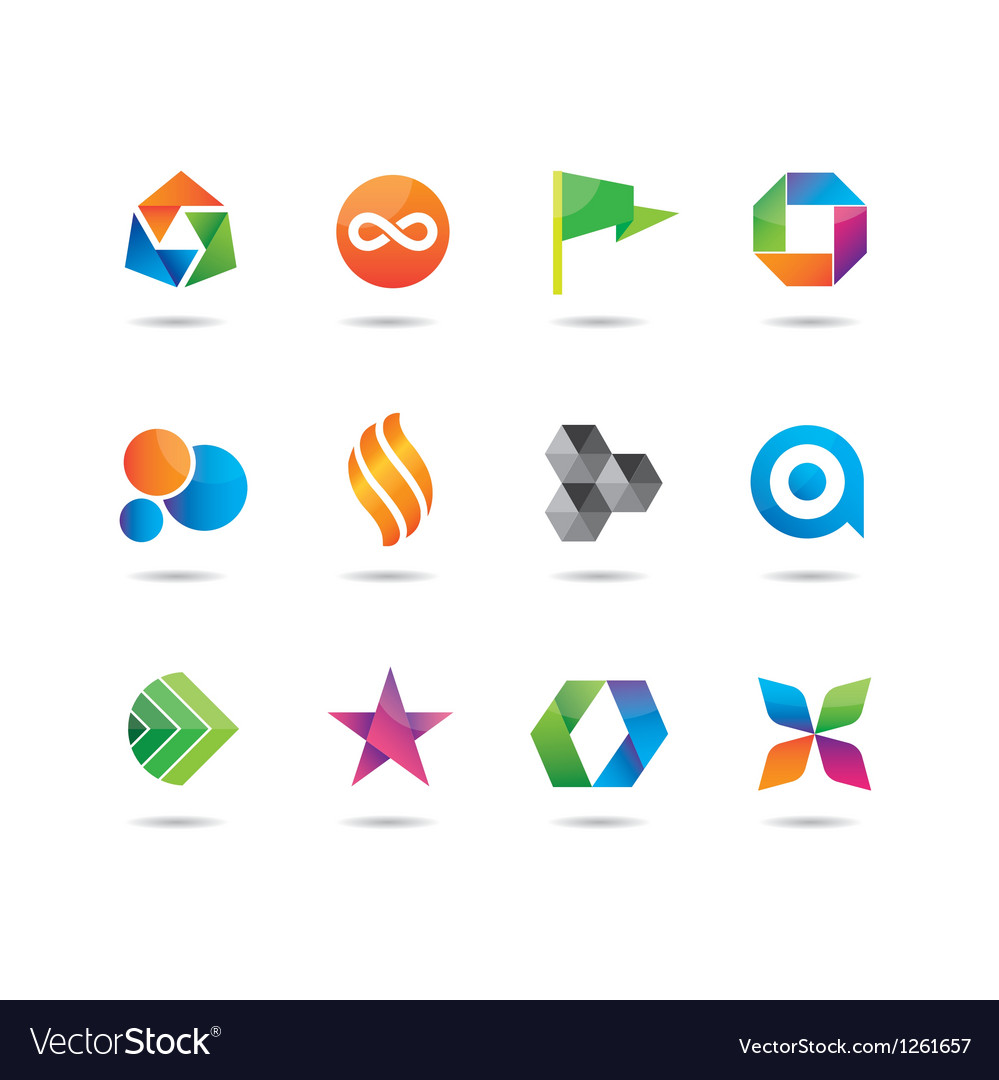 Logo and icons glossy set vector | Price: 1 Credit (USD $1)