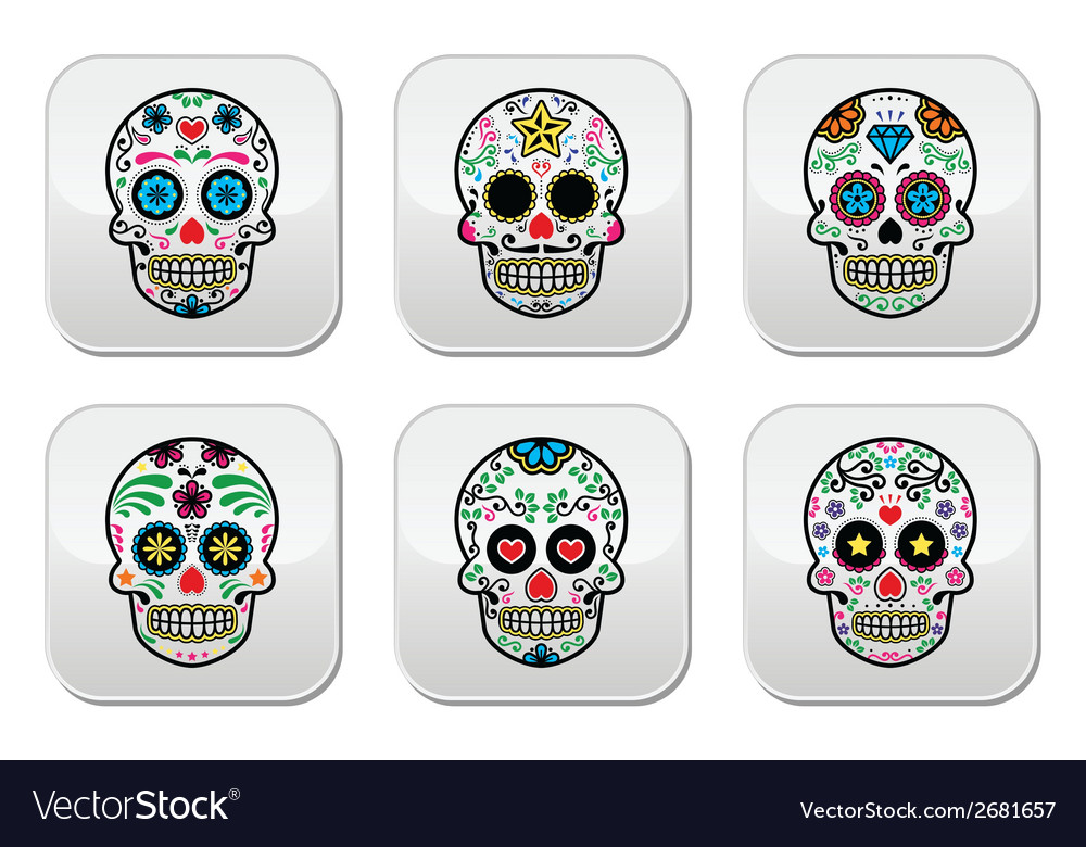Mexican sugar skull dia de los muertos buttons se vector | Price: 1 Credit (USD $1)