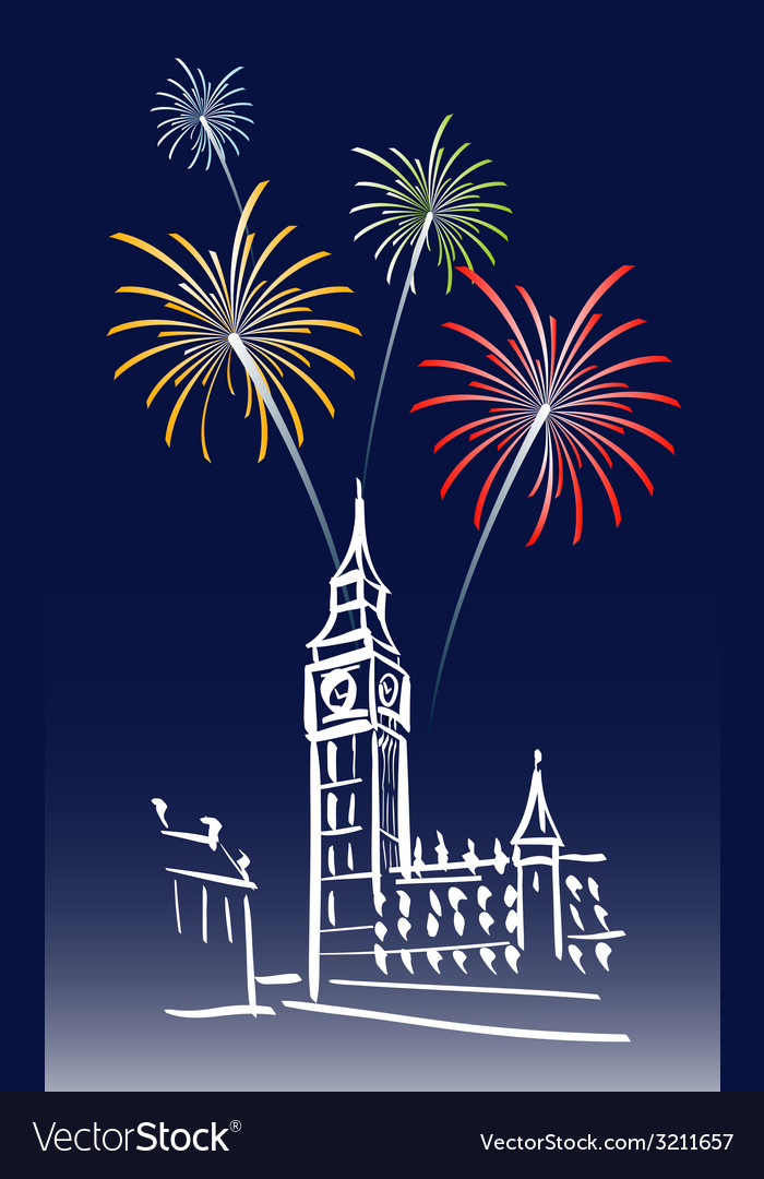 New year in london vector | Price: 1 Credit (USD $1)