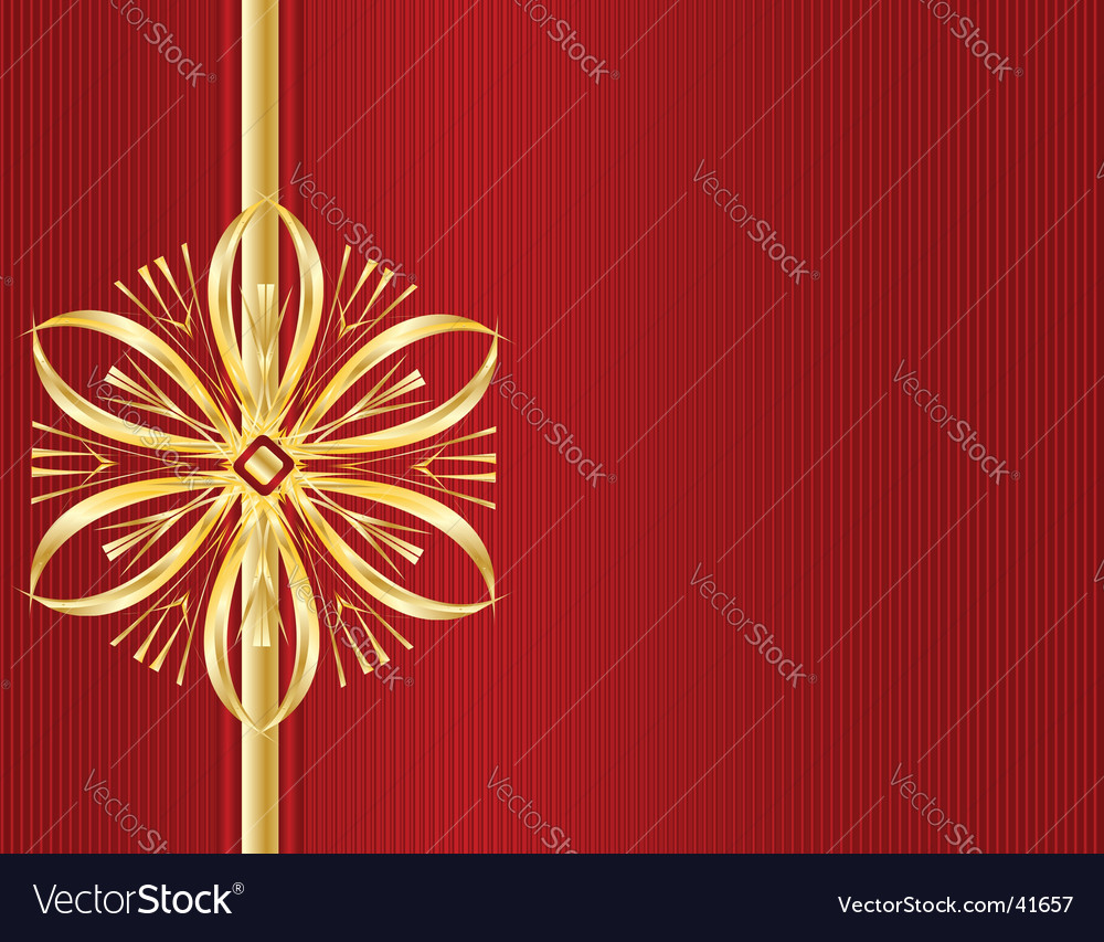 Red stripe gold bow background vector | Price: 1 Credit (USD $1)