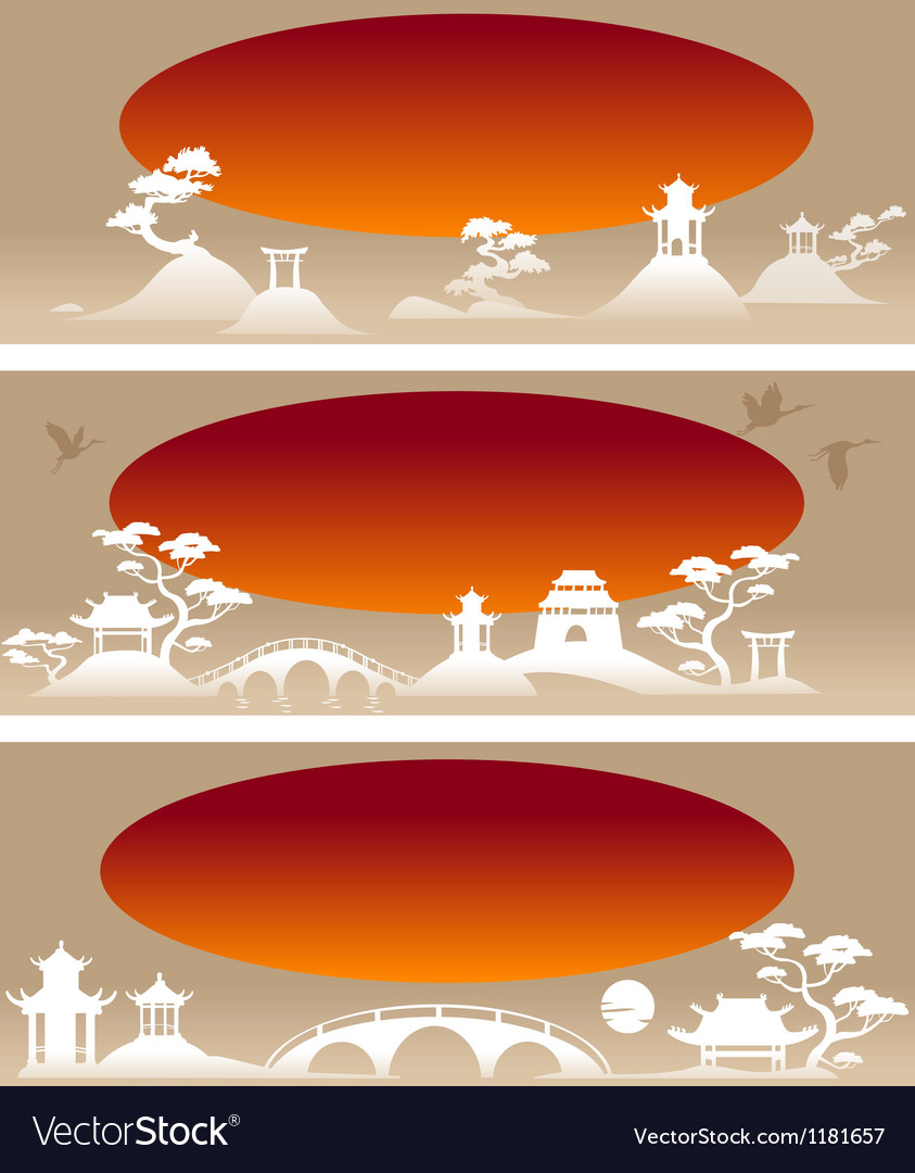 Set banners abstract asian landscapes vector | Price: 1 Credit (USD $1)