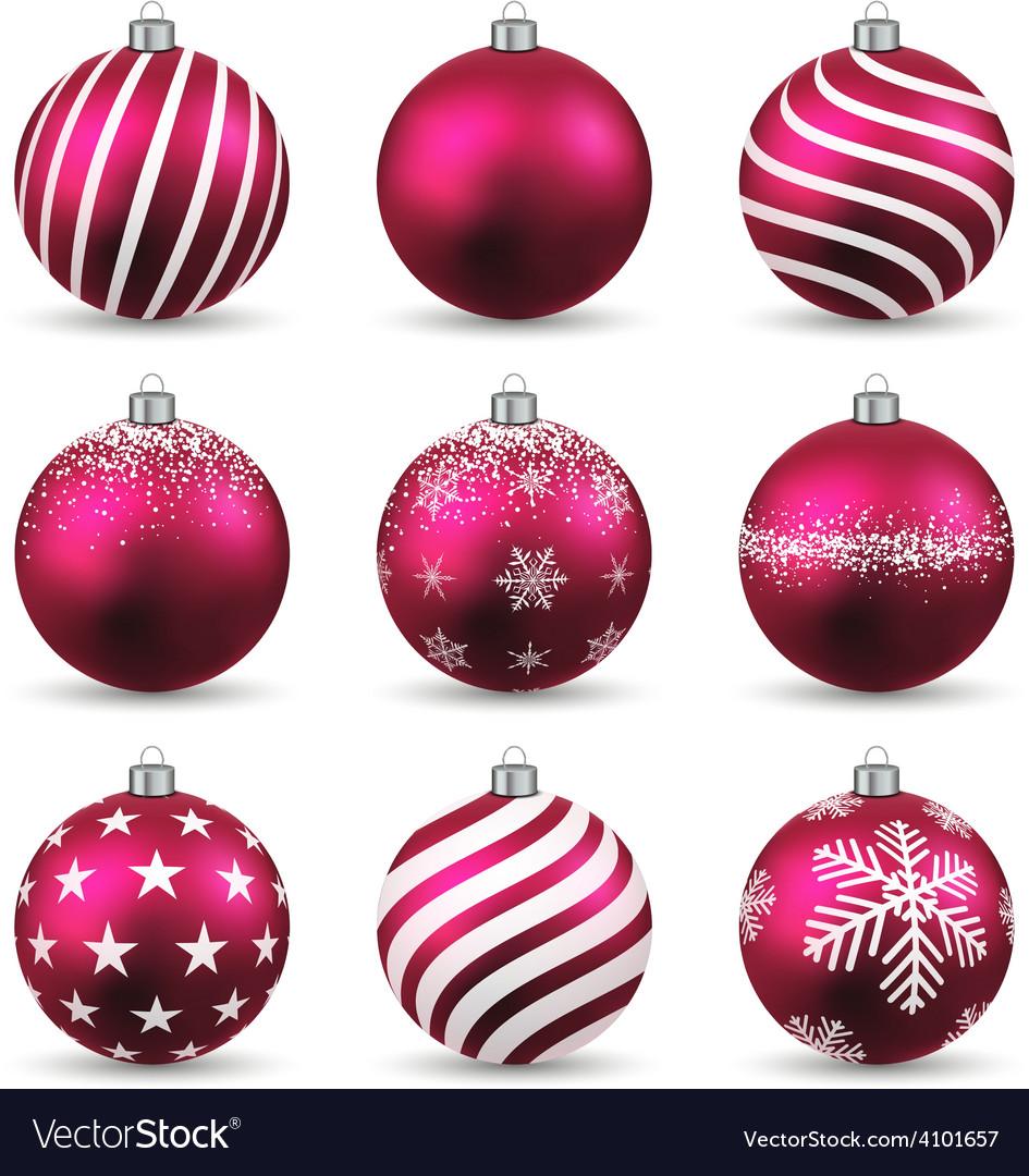 Set of realistic magenta christmas balls vector | Price: 1 Credit (USD $1)