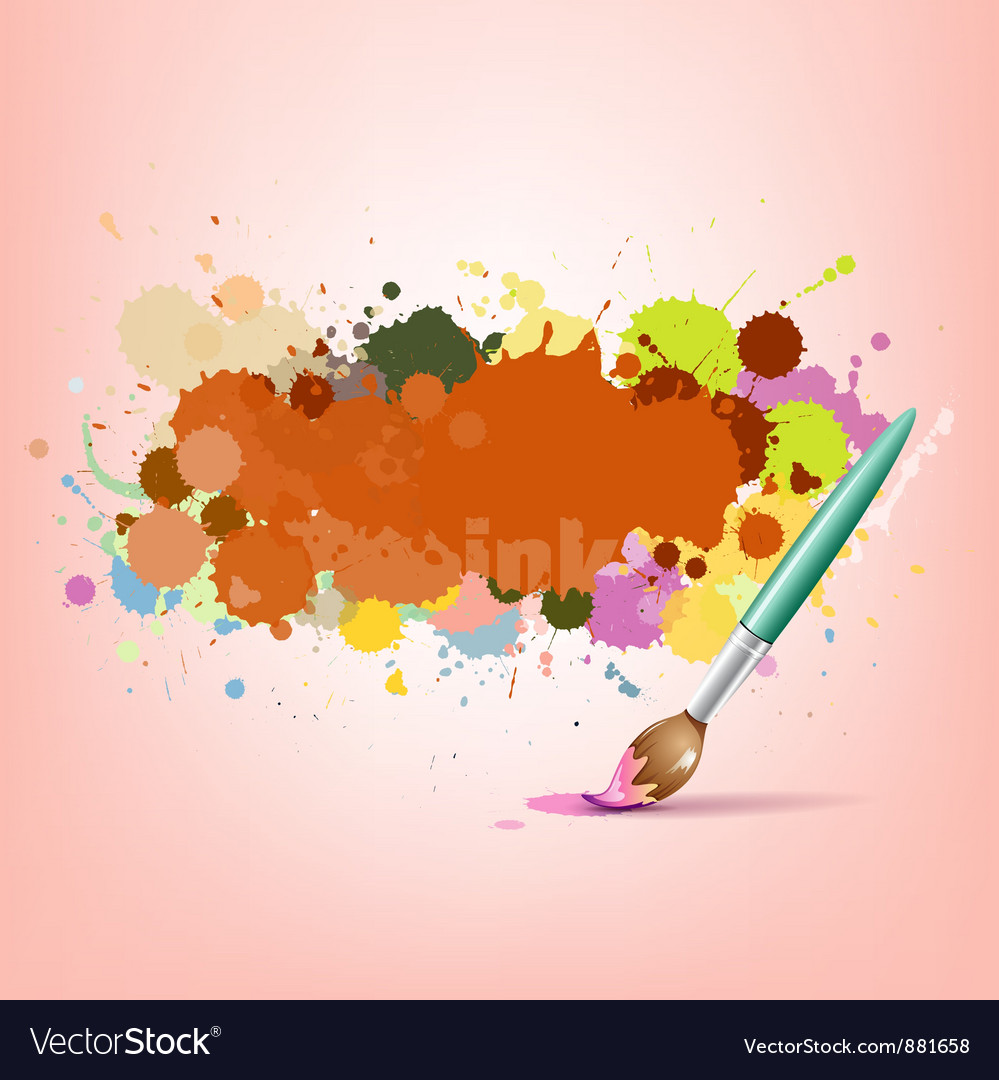 Abstract colorful ink with brush background vector | Price: 1 Credit (USD $1)