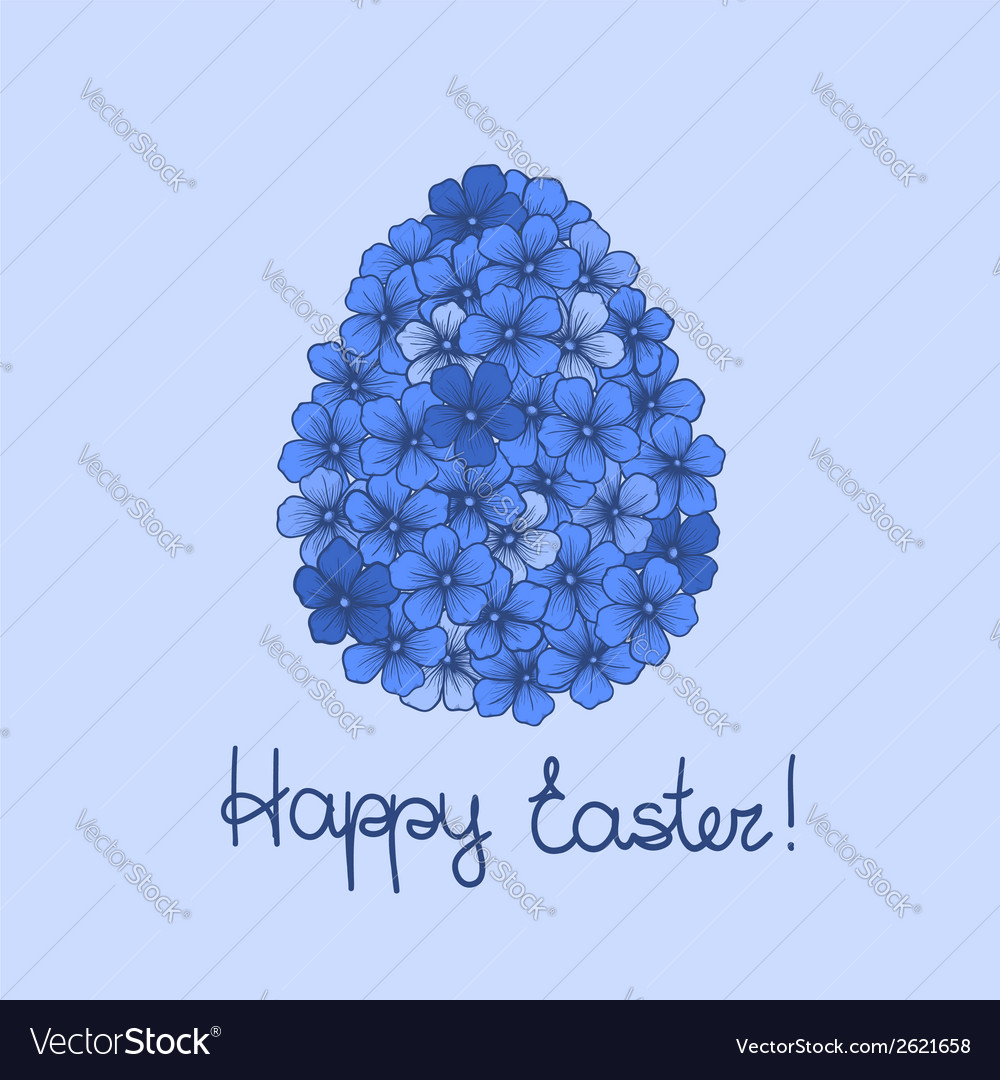 Easter greeting card with flowers vector | Price: 1 Credit (USD $1)