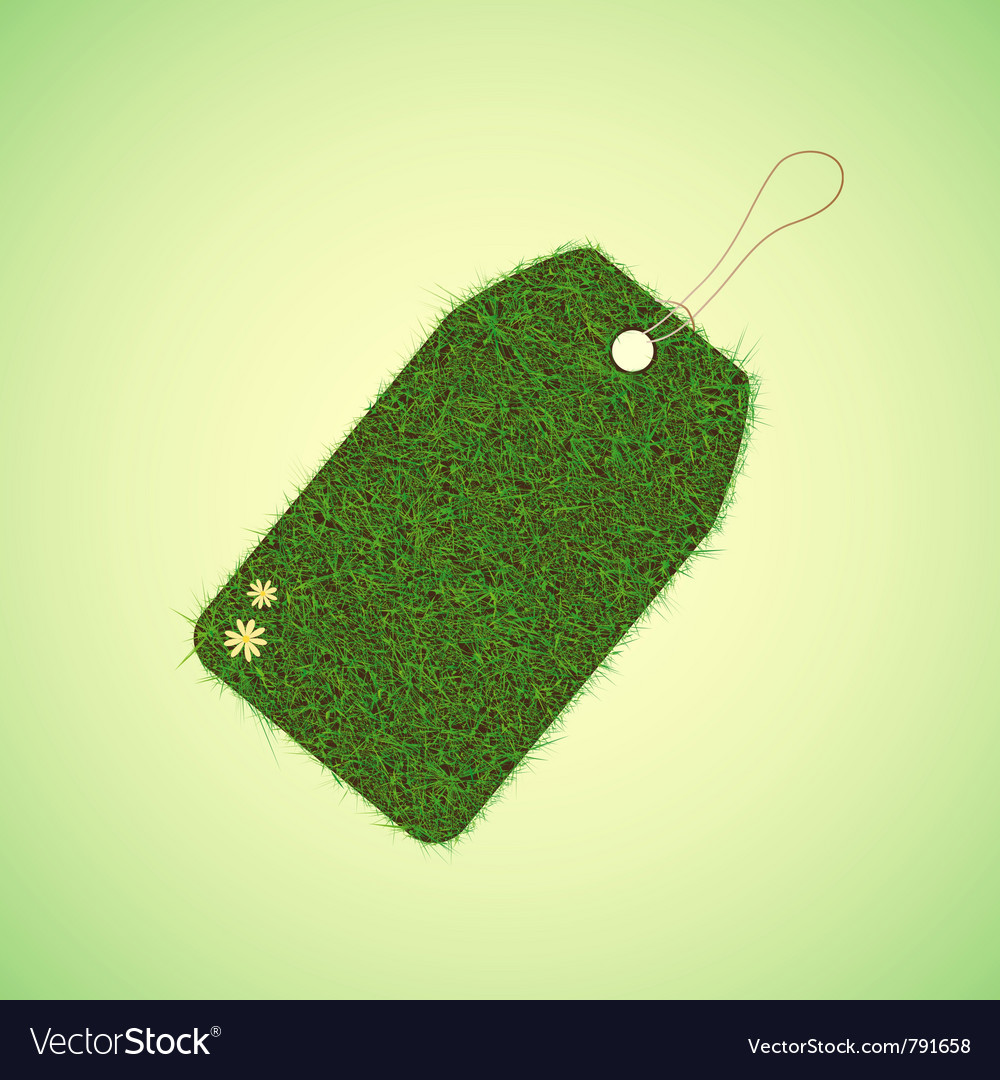 Green grass tag for spring design vector | Price: 1 Credit (USD $1)