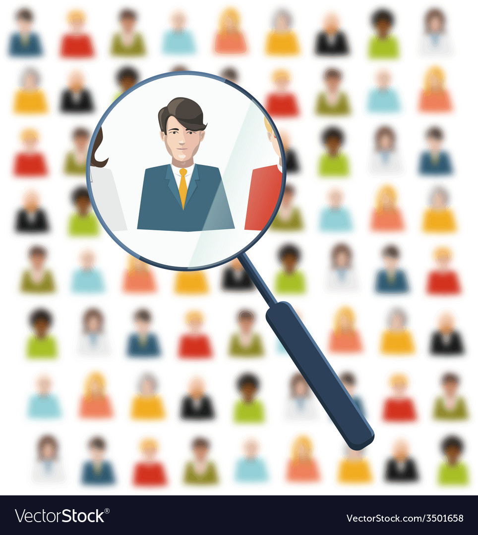 Hr looking for worker in crowd vector | Price: 1 Credit (USD $1)