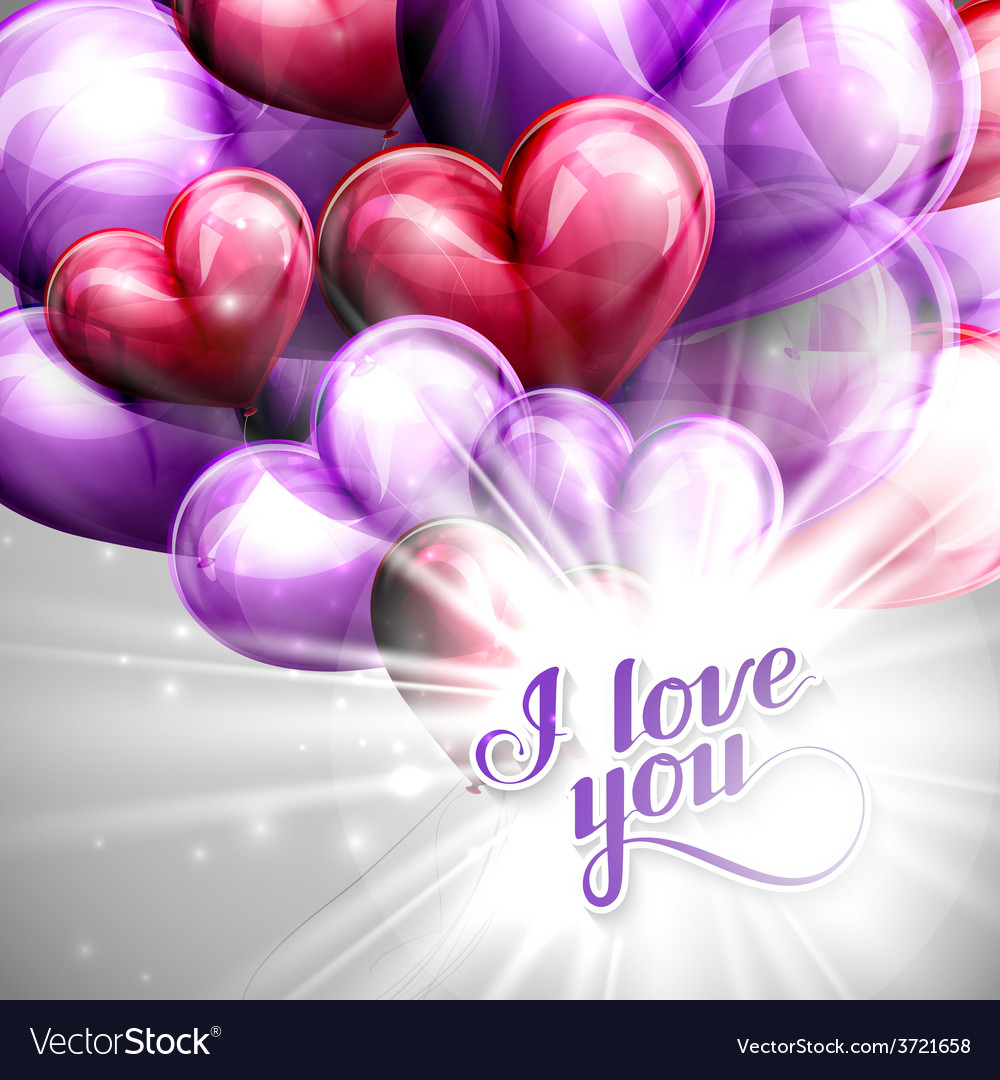 I love you retro label and balloon hearts vector | Price: 1 Credit (USD $1)