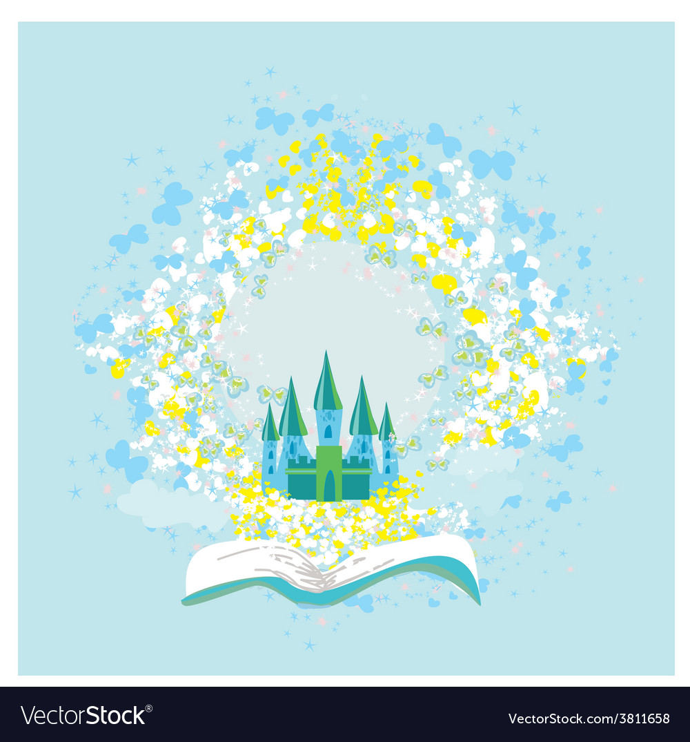 Magic world of tales fairy castle appearing from vector | Price: 1 Credit (USD $1)